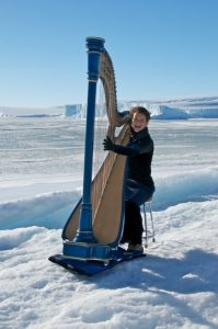 Harpist Alice Giles from her Antarctic Adventure