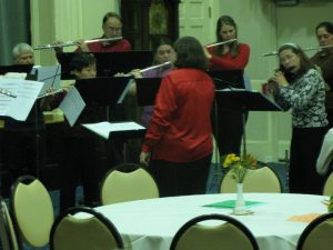 Barb Bridgers conducting the Central New York Flute Choir