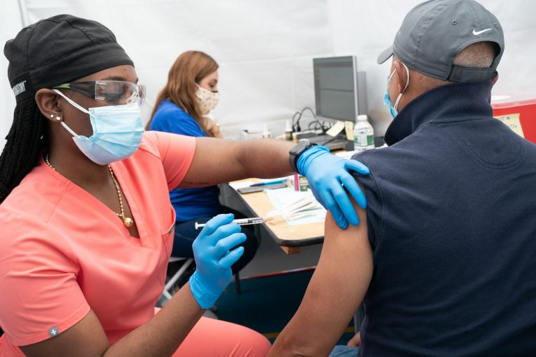 March 19, 2021 - Bronx, NY -A state-run mass vaccination site opens at the Bay Eden Senior Center in the Bronx. (Photo: Don Pollard/Office of the Governor)
