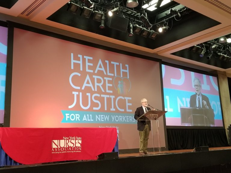 Assemblyman Dick Gottfried speaks at New York State Nurses Association event in March. (Provided by @DickGottfried)