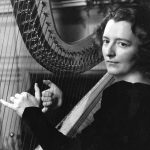 Edna Phillips, harp, Philadelphia Orchestra. (Published in the Inquirer 1941. PHOTO: R. T. Doone)