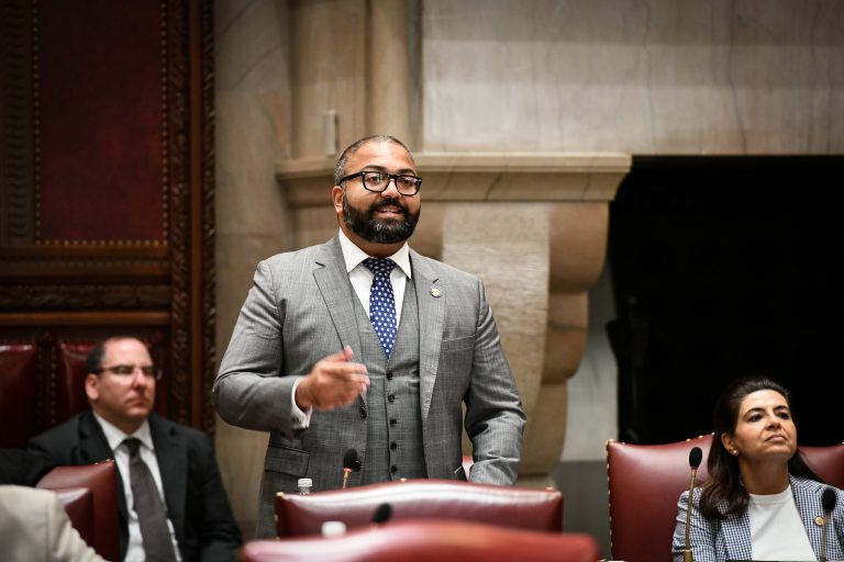 State Sen. Kevin Thomas, a Long Island Democrat, speaks in the Capitol. Provided by state Senate.