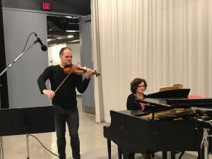 Violinist Will Knuth and pianist Ida Trebicka in the WCNY Studios