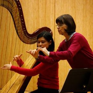 Harpist Nancy Allen gives instruction during a masterclass