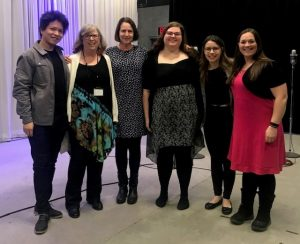 Syracuse University Opera Workshop (from left to right: Dan Sato, pianist; Diane Jones, WCNY Host; Dr. Kathleen Roland-Silverstein, director; Lindsey Bartlett, soprano; Claire Nolan, soprano; Laura McCall, soprano)