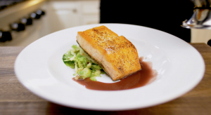 Salmon with Brussel Sprouts and Red Wine Sauce Close Up