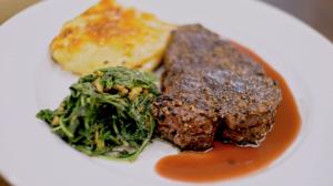 Steak Au Poivre with Garlic Arugula Close Up 2