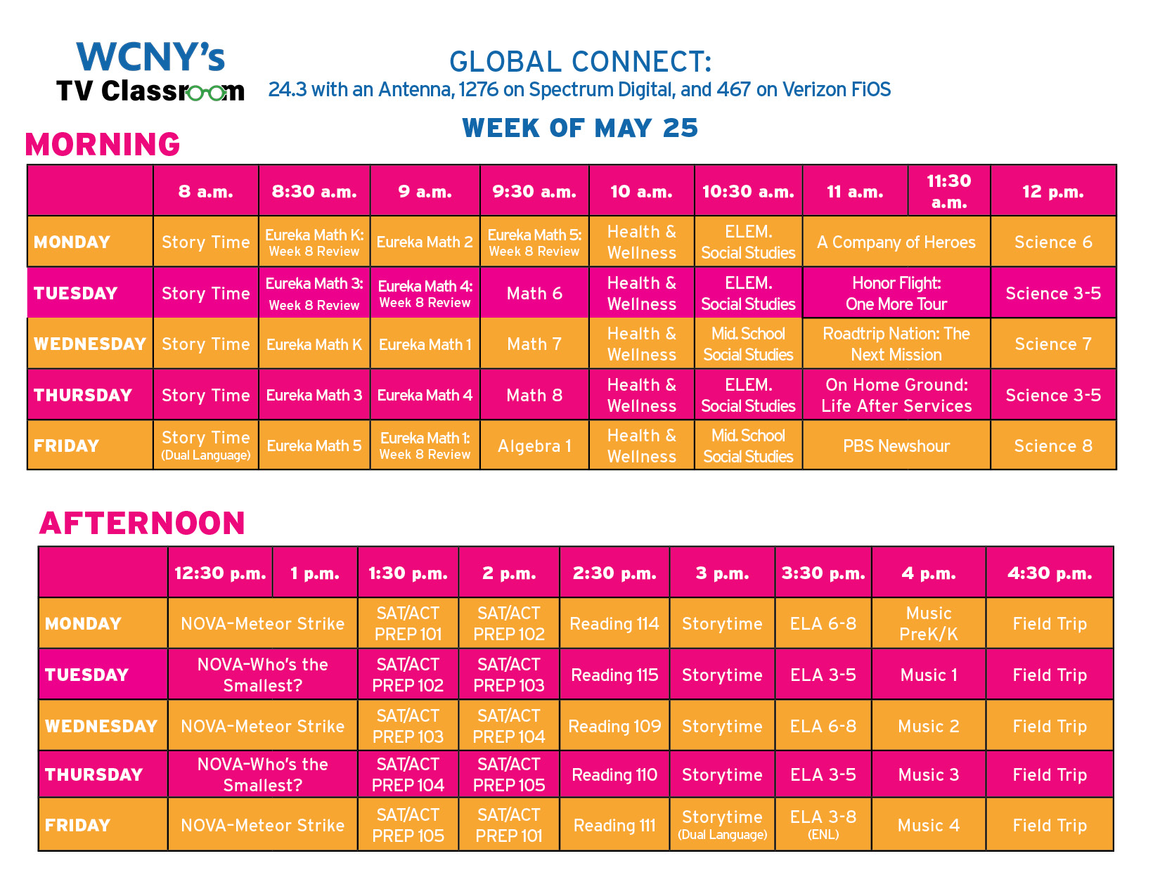 TV Classroom Grid May 25