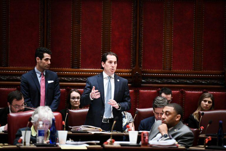 Sen. Todd Kaminsky, a Long Island Democrat, speaks on the floor of the Senate in 2019.  Provided by Senate Media Services
