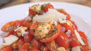 Tomato Mozzarella and Onion Salad Close Up