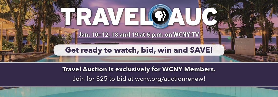 Must be a member to bid in WCNY's Travel Auction! Join today at the $25 level to get your bidder number so you're ready for January!