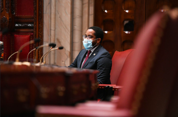 State Sen. Zellnor Myrie, a Brooklyn Democrat, sits in the chamber.  Photo Courtesy of NY Senate Media Services