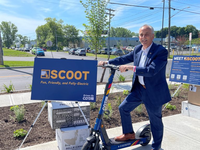 Capital District Transportation Authority CEO Carm Basile on scooter