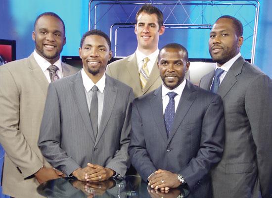 Pictured from left are Glen Davis, Orlando Magic; Roger Mason, Jr., New Orleans Hornets; Jason Smith, New Orleans Hornets; Mike James, Dallas Mavericks; and Elton Brand, Dallas Mavericks.