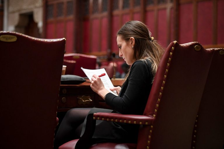 Sen. Alessandra Biaggi in the chamber in February 2020. (Provided by Senate Media Services)