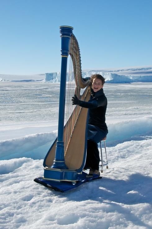 Harpist Alice Giles from her Antarctic Adventure