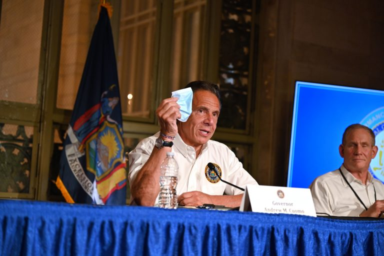 Gov. Andrew Cuomo holds up mask during May 27, 2021 press briefing.   (Kevin P. Coughlin / Office of Governor Andrew M. Cuomo)