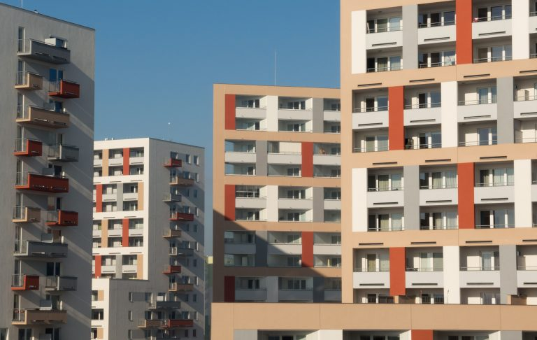 Modern Apartment Buildings. Free real estate image of modern flats houses.