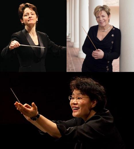 Conductors Laura Jackson (L), Marin Alsop (R), and Mei-Ann Chen