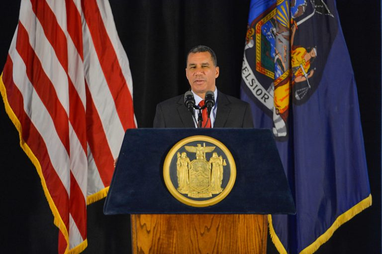 March 02, 2014-Albany- Governor Cuomo honors 55th New York State Governor David Paterson in a portrait unveiling in the Hall of Governors at the Capitol. (Photo from Gov. Andrew Cuomo's Flickr account)