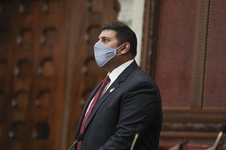 Sen. Jeremy Cooney speaks on the floor of the Senate chamber.  Photo Courtesy of NY Senate Media Services