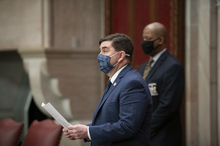 Sen. John Mannion, a Syracuse-area Democrat, speaks on the floor of the chamber.   Photo Courtesy of NYS Senate Media Services