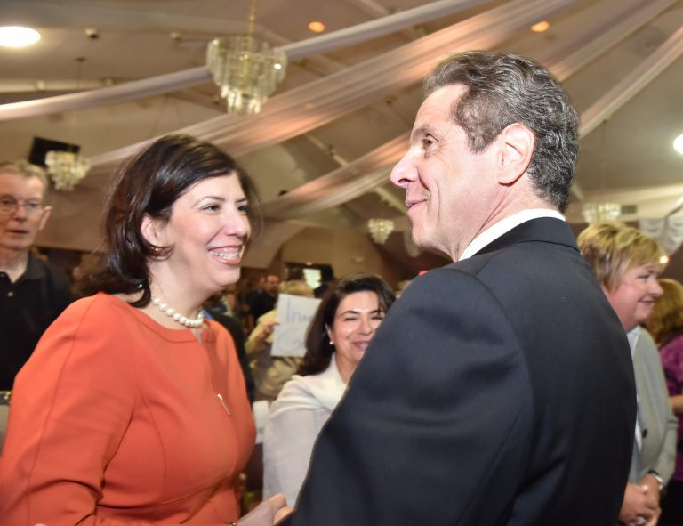 Gov. Andrew Cuomo and his nominee to the New York State Court of Appeals Madeline Singas